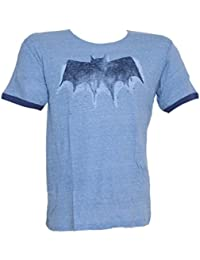 Batman Bat Signal Logo DC Comics Junk Food Vintage Style Adult Ringer T-Shirt