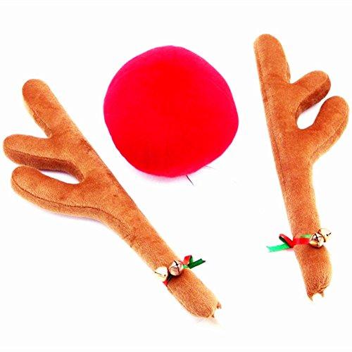 Lanlan Weihnachten Rentier Geweih rot Nase Kostüm für KFZ LKW kurz (Rentier Ideen Kostüme)
