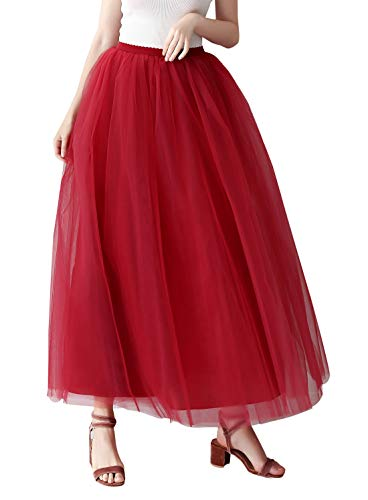drock 4 Schichten Maxi Partykleid One Size Damen Tutu Lang Rock Hohe Taille Petticoat Tüllrock für Karneval 1950er Vintage Ballett Unterrock - Wein rot ()