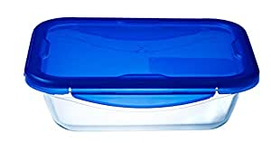 Pyrex Cook&Go Teglia Multiuso Rettangolare con Coperchio Ermetico, Vetro, Trasparente/Blu, 20 x 15 x 5 cm