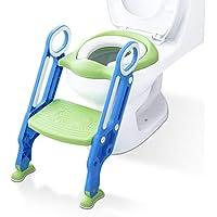 Aerobath Reducteur de Toilette avec échelle Marches, Siège de Toilette Pour Bébés anti-dérapant, robuste, pliable et réglable, Réducteur de WC pour enfants 1-7 ans