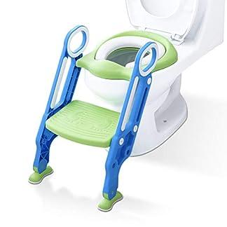 41kIUJ48haL. SS324  - Aerobath Reductor WC niños Aseo Asiento con Escalera, Orinales para niños Asiento para inodoro de bebe Orinal infantil Formación, Antideslizante, Plegable, Altura Ajustable para 1-7 niños - Verde