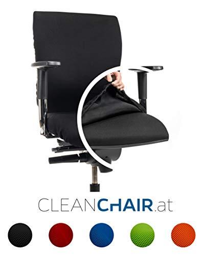 CLEANCHAIR Bürostuhlbezug für die SITZFLÄCHE (Größe Standard) - Schwarz - Sitzflächengröße ca. 40-52 cm Breite und ca. 40-52 cm Tiefe