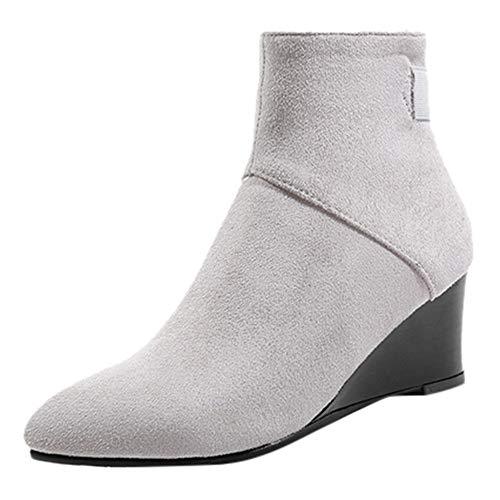 Stiefeletten Damen Schuhe ABsoar Boots verknees mit Blockabsatz Profilsohle Stiefeletten Schuhe Herbst Winter Frauen Flache Knöchel Schneemotorrad Stiefel Weiblich Wildleder Leder Lace-up Boot