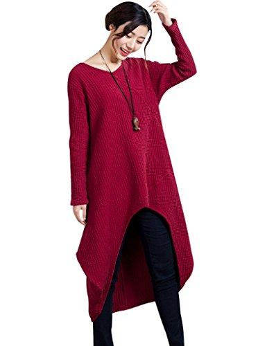Youlee Damen Leinen Irregulär Langarm Kleid Fit S-M Rot