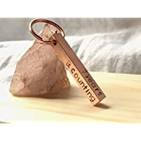 Copper Bar Keyring Personalised Hand Made Hand Stamped Gift For Her 7th Anniversary Gift