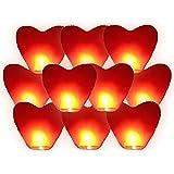 Lot de 10 lanternes volantes célestes thaïlandaise cœur rouge amour couple saint valentin cadeau anniversaire mariage