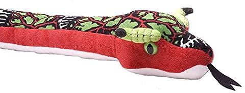 Snakesss Plüschtier Drachenviper, rot grüne Schlange, Kuscheltier ca. 137 cm