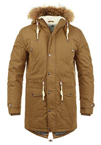 !Solid Dry Parka Herren Winter Jacke Parka Mantel Lange Winterjacke gefüttert mit Kunst-Fellkapuze, Größe:XL, Farbe:Cinnamon (5056)
