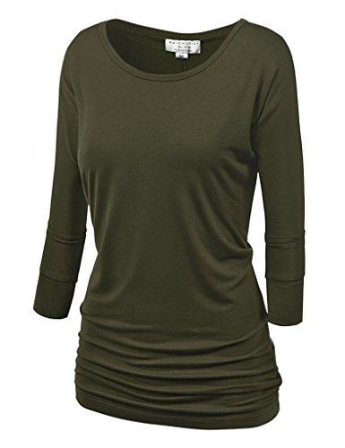 Match Damen 3/4 aermel T-Shirt #140 (140 Armee gruen,Small)