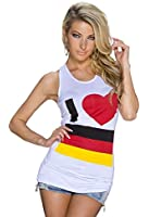 5236 Fashion4Young Damen ärmelloses Top Tank-Top Tanktop Deutschland Germany Top 2 Größen Shirt