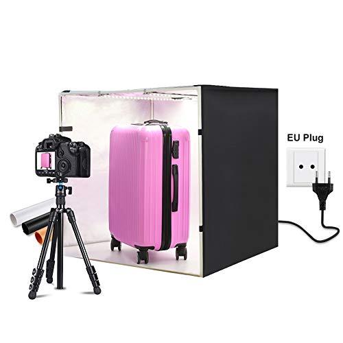 QKa Fotostudio 80 x 80 cm (32 x 32 Zoll) Tragbares Light Box Shot-Zelt mit 2 Stück 5500K LED-Streifen für professionelle Fotografie (Weiß/Schwarz/Orange Hintergründe),EU -