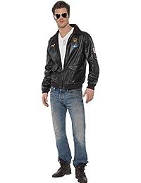 Película/Tv Con licencia para hombre Fancy Dress Top Gun Bomber chaqueta disfraz completo disfraz