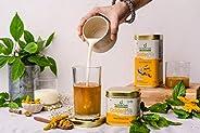 The Divine Foods Organic Golden Milk Latte | 28 Sachets | (125 gm) | Natural Detox Drink DND | Haldi Milk | An
