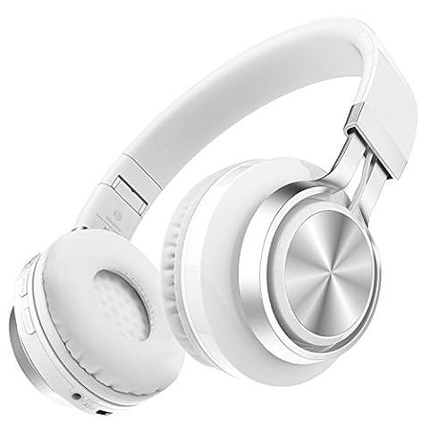 Darkiron Casque Bluetooth Microphone intégré sans fil avec radio FM TF Card et Extra Câble audio pour la plupart des téléphones cellulaires, iPhone, ordinateur portable, TV, Bluetooth 4.0 Devices (Blanc)