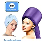 Bonnet Hood Hair Dryer Attachment With Super Soft Towel,Soft Cap Portable Hand Free Adjustable for Care Deep Conditioning ...