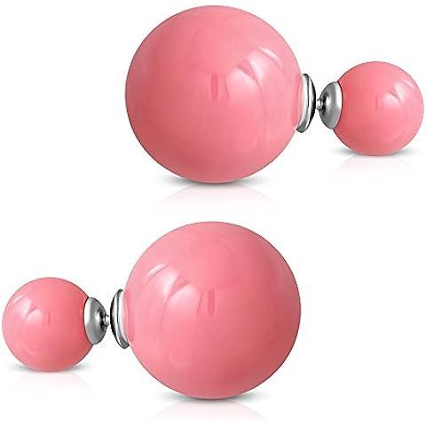 bungsa® doppio perline orecchini rosa 8& 14mm–1paio