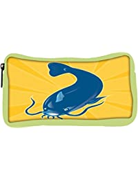 Snoogg Eco Friendly Canvas Angry Catfish Swimming Down Student Pen Pencil Case Coin Purse Pouch Cosmetic Makeup...