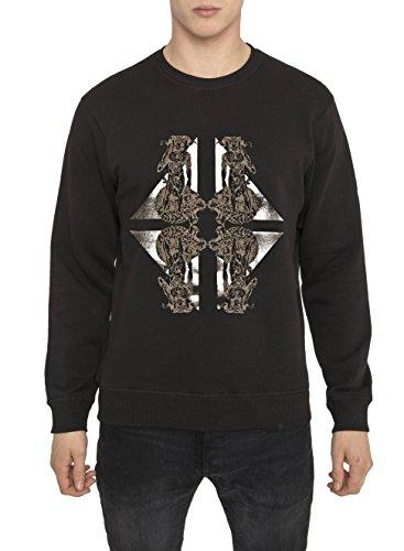 Felpe Designer Moda da Uomo, Felpa Fashion Vintage Rock, Metallica, Nera di Cotone con Stampa - HORSE Sweatshirt Cool Urban Gothic Metal Style, Girocollo e Manica Lunga, S M L XL XXL