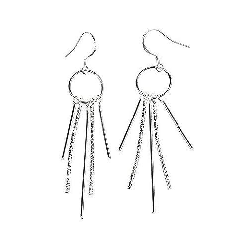 bodya élégant Fashion Jewelry Clous d'Oreille Plaqué Argent Dangle cristaux forme carrée stranght Long en lot