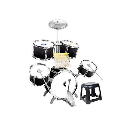 LIUFS-Tamburo dei bambini I Bambini La Batteria di Principianti Giocattolo Musicale Band Batterie Ragazzi 3-6 Anni Drumming Tamburi con Regali Drum Disegno Festa (Color : Nero)