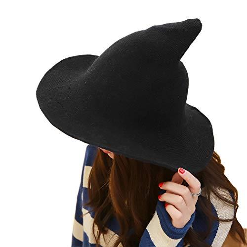 XWBO Damen Hexenhut Mütze Sharp Spitz Hexe Hat Beach Halloween Weihnachten Party Kostüm Cap aus Wolle 8,5 cm