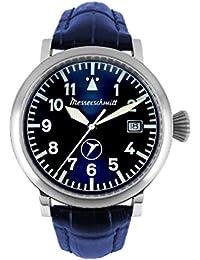 Messerschmitt Hombre Planeador Reloj BF de 108Azul Pulsera de piel coleccionistas Reloj Reloj