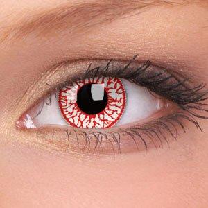 80004 Kontaktlinsen zwei Paare linsen farbig rot weiss vampir dämon halloween kostüme neu
