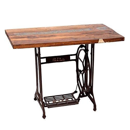 Indhouse - Mesa de estilo industtrial vintage antigua máquina de coser con sobre de madera reciclada