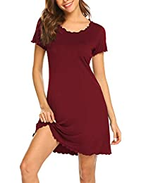 Lucyme Damen Nachthemd Mit Rüschen Kurze Nachthemd Kurzarm Nachthemd Sleepshirt