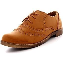 Mujer Abarcas Gorra De Ala Trabajo Vintage Formal Diseñador Oficina Zapatos Planos - Tan - UK5/EU38 - KL0081