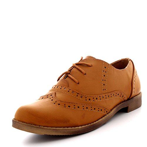 Femmes Broguess Cap D'aile Travail Cru Formel Designer Bureau Chaussures Plates Tan