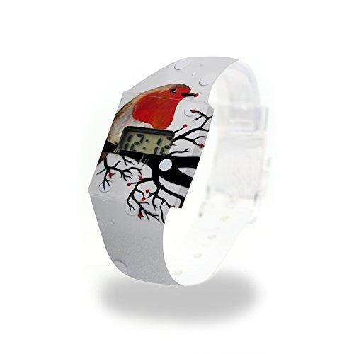 ROTKEHLCHEN Pappwatch / Paperwatch / Digitale Armbanduhr aus Tyvek®, absolut reißfest und wasserabweisend