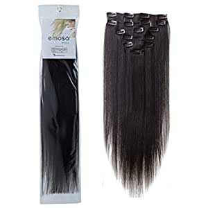"18"" Clip In Remy Human Hair Extensions Off Black 7pcs 70g"