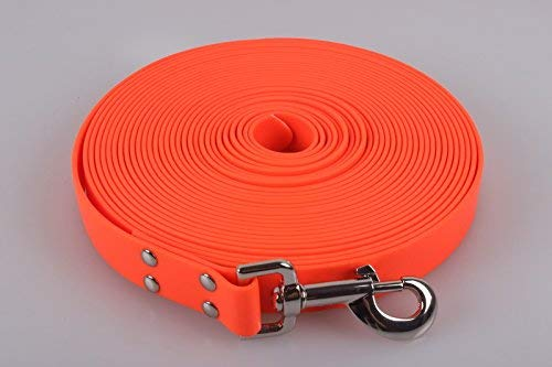 10 Meter Biothane Tracking Line/Leash/Lead For Deer Dogs – Blaze Orange Suitable for Medium to Large Dogs