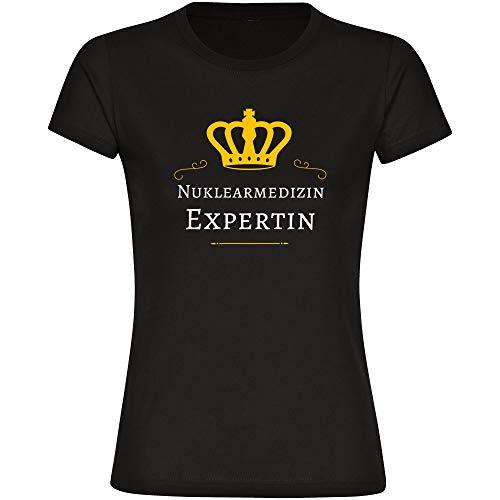T-Shirt Nuklearmedizin Expertin schwarz Damen Gr. S bis 2XL - Lustig Witzig Sprüche Party Funshirt, Größe:XXL