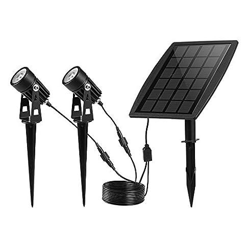 Keynice Wasserdichte IP65 Solarspots Solarleuchte Solarlampe Unterwasserstrahler mit 2 White Lights für Outdoor / Garten / Hof / Rasen-Schwarz … …
