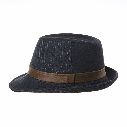 WITHMOONS Chapeau Fedora Herringbone Dotted Fedora Hat Faux Leather Banded LD6591 Bleu
