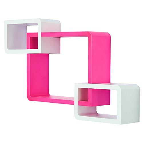 Homcom Etagères murales Cubes Design Contemporain Lot de 3 étagères en MDF Rose Fuchsia Blanc 63