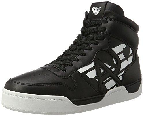 Armani Jeans Herren High Cut Hohe Sneaker, Schwarz (Nero), 43 EU