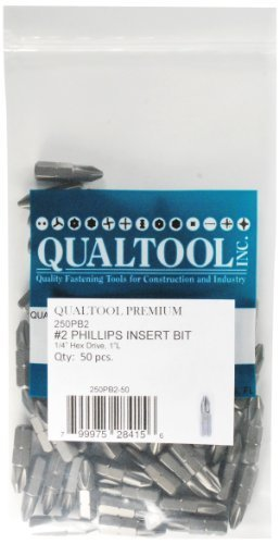 Qualtool Premium 250PB2-50 1/4-Inch Hex Drive Size 2 Phillips Insert Bit, 50-Pack by Qualtool Premium -