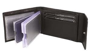 Porte-cartes OTARIO, cuir véritable, noir 7,5x10cm