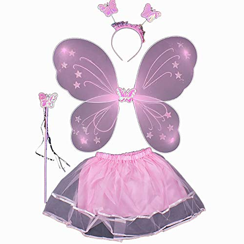 FJROnline Fee Prinzessin Schmetterling Engel Kostüm Set für Baby Mädchen, Tutu Rock, Light Butterfly Fairy Flügel, Zauberstab, Fee Haarband für Karneval Kostüm Cosplay - 4 in 1 (Kleinkind Lila Schmetterling Fee Kostüm)
