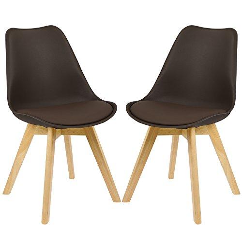 EUGAD 2X Esszimmerstühle 2er Set Esszimmerstuhl Design Stuhl Küchenstuhl Holz,, Braun, BH29br-2-a