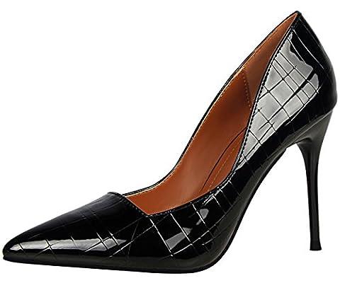 Pointu Femmes Escarpins De BIGTREE Noir Stiletto Plaid Talons hauts Robe Chaussures 34 EU