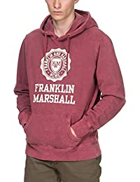 Franklin & Marshall Men's Men's Pink Hoodie With Stamp 100% Cotton