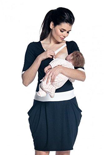 Zeta Ville - Maternité robe d'allaiter couches détails contraste - femme - 698c Noir