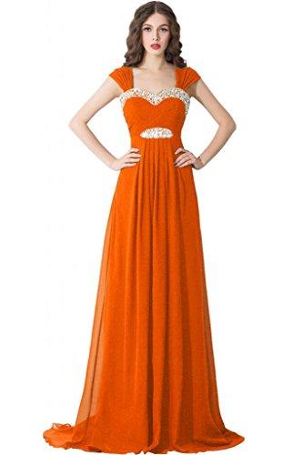 Sunvary Neu Herzform A-Linie Abendkleider Lang Chiffon Ballkleider Partykleider Orange