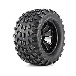 Garciakia 4Pcs 130mm 10 Contour Dump Fetal Flower Off-road Wheel Rim and Tires for 1/10 Monster Truck Racing RC Car Accessories(Color:Black)