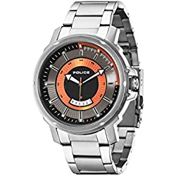 Police TROOPER men's quartz Watch with grey Dial analogue Display and silver stainless steel Bracelet 14382JS/61M